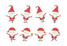 Set of Funny christmas santa claus. Cartoon characters isolated on white background. Vector illustration: Set of Funny christmas santa claus. Cartoon characters Stock Image