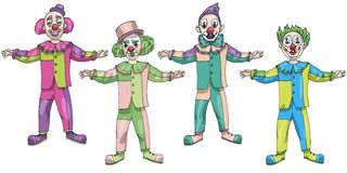Vector illustration set funny Clown in pastel colors isolated on white background April Fools day royalty free illustration