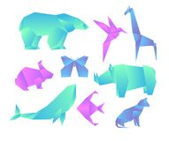 Vector illustration set of geometric paper animals with color gradient, 3d animals, origami style. Origami gradient stock illustration