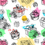 Vector illustration set of gift boxes with bows and ribbons.Hand drawn sketch Royalty Free Stock Photos