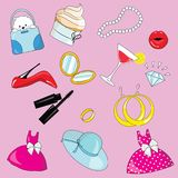 Vector illustration set for girl. Collection of stylized drawings for the princess. Unicorn. Rainbow. Vector illustration set for girl. Collection of stylized Stock Photos