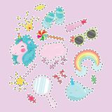 Vector illustration set for girl. Collection of stylized drawings for the princess. Unicorn. Rainbow. Royalty Free Stock Photography