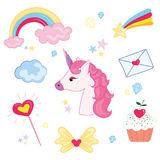 Vector illustration set for girl. Collection of stylized drawings for the princess. Unicorn. Rainbow. Stock Image