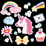 Vector illustration set for girl. Collection of stylized drawings for the princess. Unicorn. Rainbow. Vector illustration set for girl. Collection of stylized Royalty Free Stock Image