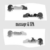 Vector illustration set of girls on massage vector illustration