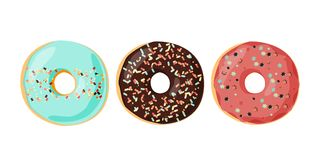 Set of glazed colored donuts with icing sprinkles. Vector illustration. royalty free illustration