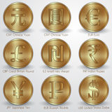 Vector illustration set of gold coins with Royalty Free Stock Images