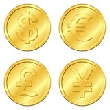 Vector illustration. Set of gold coins with 4 major currencies. Dollar, Euro, Pound sterling, Yuan or Yen. Chips. Editable. And suitable. Casino game. EPS10 vector illustration