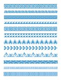 Vector illustration set of Greek patterns and ornaments on white background. Wave and meander decorative elements set. Blue color royalty free illustration