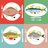 Vector illustration set of grill prepared fish with lemon and parsley.  Stock Image