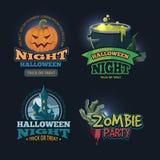 Vector illustration set of halloween badges royalty free illustration