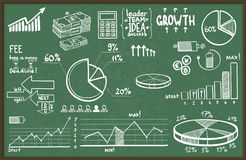 Vector illustration of set of hand drawn business, finance elements Stock Photos
