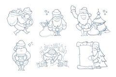 Vector illustration set of hand drawn Christmas Santa Claus Stock Photos