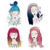 Girls different hair colors and hairstyle. Vector illustration. Set of a hand drawn girls portraits, faces with different kinds hair colors and hairstyle Stock Images