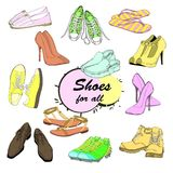 Illustration of Set hand drawn graphic Man and Women Footwear Royalty Free Stock Photography