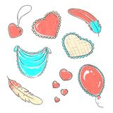 Vector illustration. Set of hand drawn hearts in doodle style. royalty free illustration