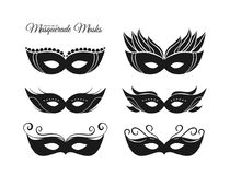 Vector illustration: Set of hand drawn silhouettes of masquerade masks.  Royalty Free Stock Photos