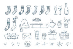 Vector illustration set of hand drown elements for Christmas Royalty Free Stock Photo