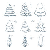 Vector illustration set of hand drown Fir trees Stock Image