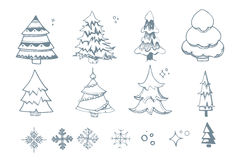 Vector illustration set of hand drown Fir trees Stock Photo