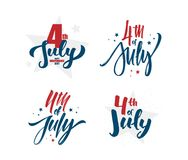 Vector illustration: Set of Hand lettering of Happy Independence Day. 4th of July typographic design.  Stock Image