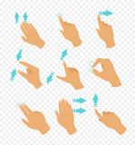 Vector illustration set of hands in different positions touch screen gestures, fingers move by blue color arrows showing. Direction of movement of fingers royalty free illustration