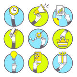 Vector illustration of set of hands with various objects on blue Royalty Free Stock Photography