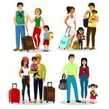 Vector illustration set of happy people travelling with kids. Family travel together. Father mother and children with. Luggage at the airport in a flat cartoon vector illustration