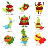 Vector illustration set of happy superhero fruit characters in different poses, card or print elements Stock Photo