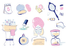Vector Illustration Set of 10 Health and Beauty Objects Royalty Free Stock Image