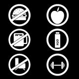 Vector illustration set: healthy life. Icons for your design Royalty Free Stock Photos