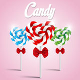 Vector illustration set of heart shaped candy lollipop Stock Photography