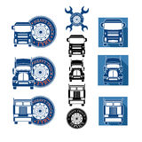 Vector illustration set heavy truck automobile service Royalty Free Stock Photos