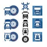 Vector illustration set heavy truck automobile service Royalty Free Stock Photos