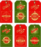 Set of christmas tags. Vector illustration set of holiday tags with christmas and new year with elements of festive decorations Stock Photography