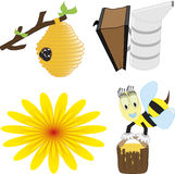 A vector illustration set of honey bee related icons like happy honey bee Royalty Free Stock Images