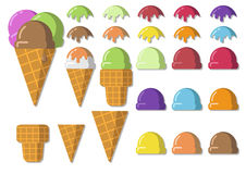 Vector illustration set icecream soft serve scoop, waffle cup, t Stock Photography