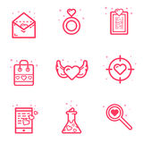 Vector illustration of set icon Valentines day concept in flat bold line style. Graphic design pink icons love letter Royalty Free Stock Photography