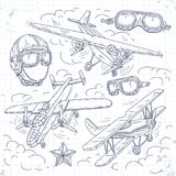 Vector retro biplane, set icons old aircraft on a background of clouds, pilot helmet and glasses. Vector illustration, set icons retro old aircraft on a Stock Photography