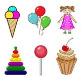 A set of icons of sweets and children`s toys. Vector illustration, a set of icons of sweets and children`s toys Stock Photo