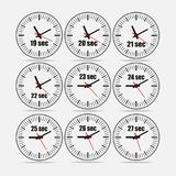 Vector illustration set 1, increments from 19 to 27. Vector illustration, increments from 19 to 27, one second interval, 3 rows and 3 columns on grey background Stock Photos
