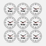 Vector illustration set 1, increments from 10 to 18. Vector illustration, increments from 10 to 18, one second interval, 3 rows and 3 columns on grey background Royalty Free Stock Photos