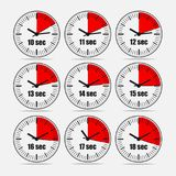 Vector illustration set 2, increments from 10 to 18. Vector illustration, increments from 10 to 18, one second interval, 3 rows and 3 columns on grey background Stock Photos