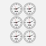 Vector illustration set 1, increments from 56 to 60. Vector illustration, increments from 55 to 60, one second interval, 3 rows and 2 columns on grey background stock illustration