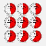 Vector illustration set 2, increments from 28 to 36. Vector illustration, increments from 28 to 36, one second interval, 3 rows and 3 columns on grey background stock illustration