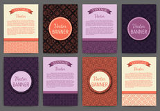 Vector illustration set of invitations . Vintage banners Stock Photography