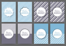 Vector illustration of a set of invitations . Vintage banners with stripes Stock Photos