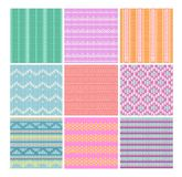 Vector illustration set of knitting fabrics seamless patterns backgrounds. Collection of nine colorful and bright vector illustration