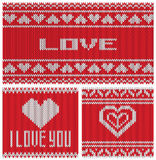 Vector illustration A set of knitting patterns. Vector illustration set of knitting patterns, love, valentines day Stock Image