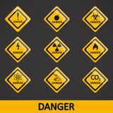 Vector illustration set label danger Royalty Free Stock Photo